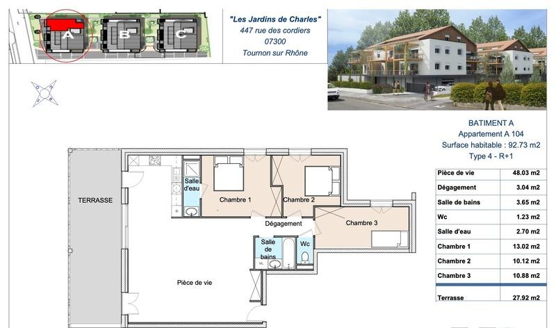 MAGNIFIQUE APPARTEMENT PROGRAMME NEUF T4 DE 92 M2 Tournon-sur-Rhône 07