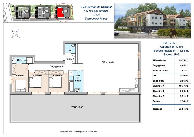 VUE PANORAMIQUE AVEC UN APPARTEMENT T4 DE 118 M2 Tournon-sur-Rhône 07